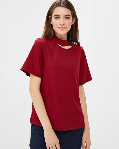 Блузка с коротким рукавом осенняя бордовый Zarina