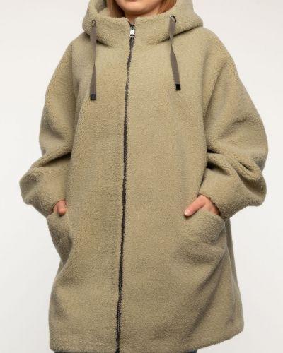 Бежевое шерстяное пальто с капюшоном Aliance Fur