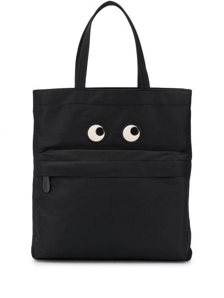 Otwarty nylon czarny torba na zakupy Anya Hindmarch