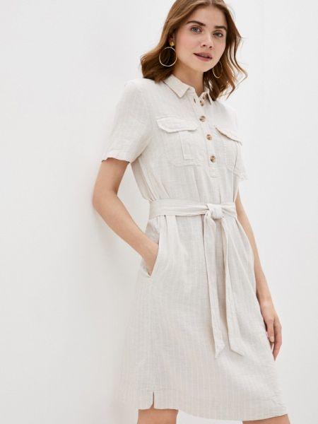 Платье платье-рубашка бежевое Marks & Spencer