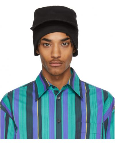 Czarna czapka z haftem bawełniana Marni