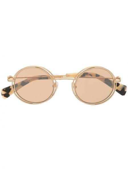 Brązowe złote okulary z printem Yohji Yamamoto