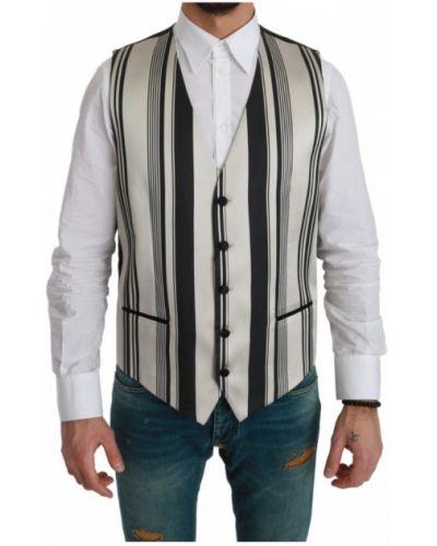 Biała kamizelka w paski zapinane na guziki Dolce And Gabbana
