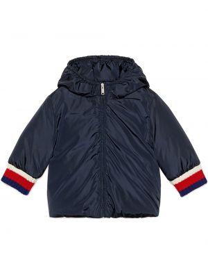 Niebieska kurtka pikowana z nylonu Gucci Kids