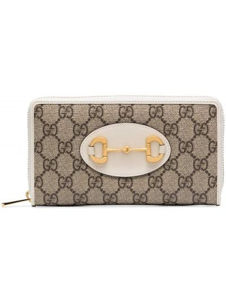 Brązowy portfel skórzany z prawdziwej skóry Gucci