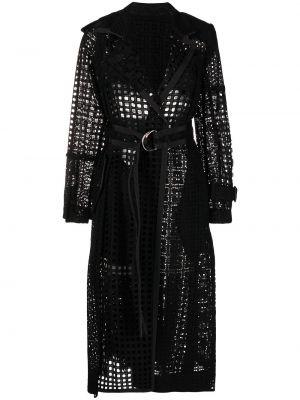 Czarny długi płaszcz wełniany z długimi rękawami Sacai