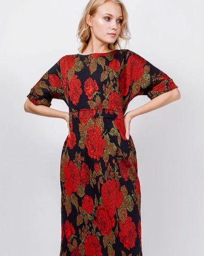 Платье миди красный осеннее мадам т