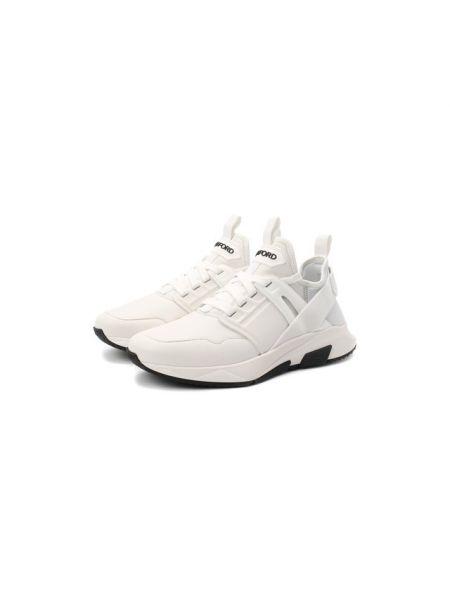 Кожаные кроссовки - белые Tom Ford