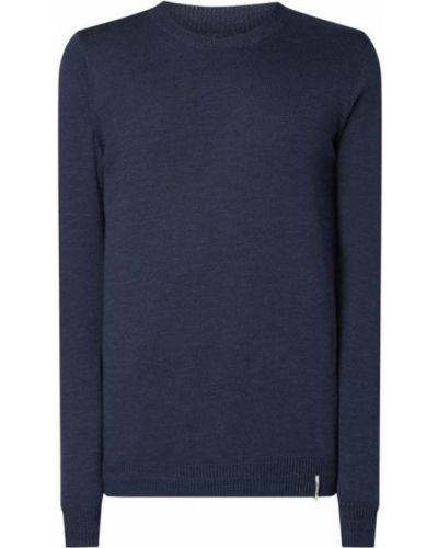 Niebieski sweter bawełniany prążkowany Anerkjendt