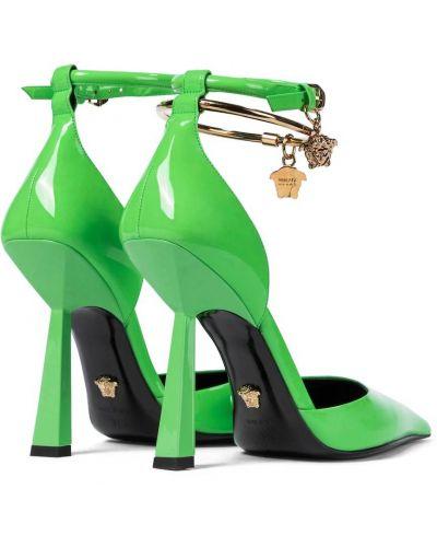 Кожаные лодочки - зеленые Versace