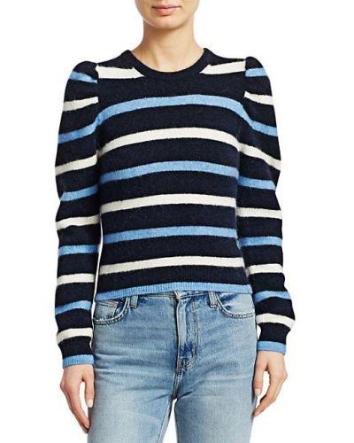 Шерстяной длинный свитер в полоску с нашивками Derek Lam