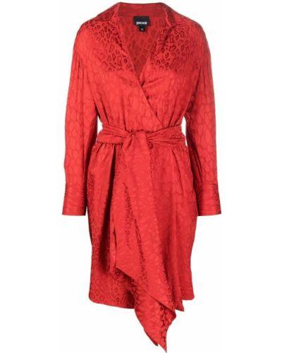 Платье макси с длинными рукавами - красное Just Cavalli
