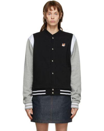 Черная длинная куртка с манжетами с подкладкой с воротником Maison Kitsuné