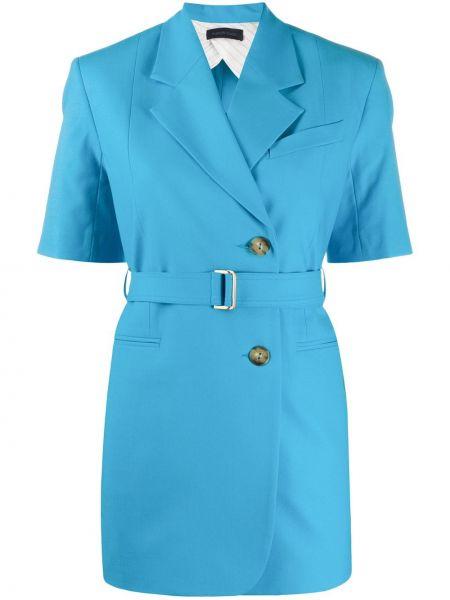 Шерстяной синий короткая куртка с короткими рукавами Eudon Choi