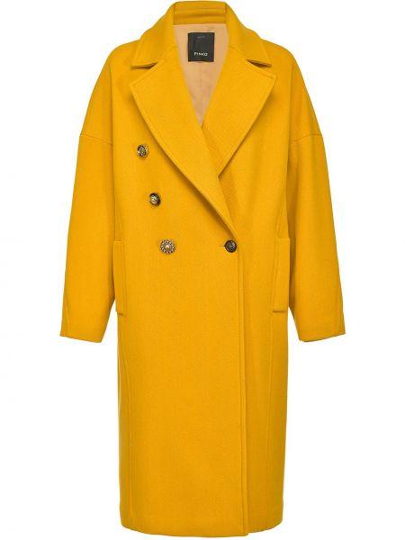 Wełniany płaszcz dwurzędowy Pinko