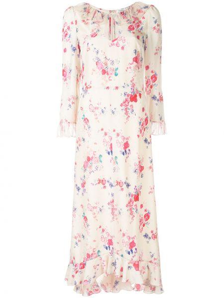 Шелковое платье макси - бежевое Vilshenko