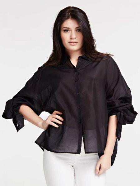 Czarna koszula bawełniana z długimi rękawami Guess