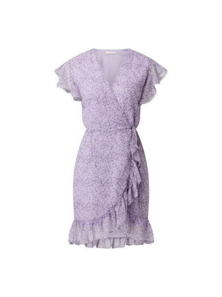 Fioletowa sukienka rozkloszowana z falbanami Freebird