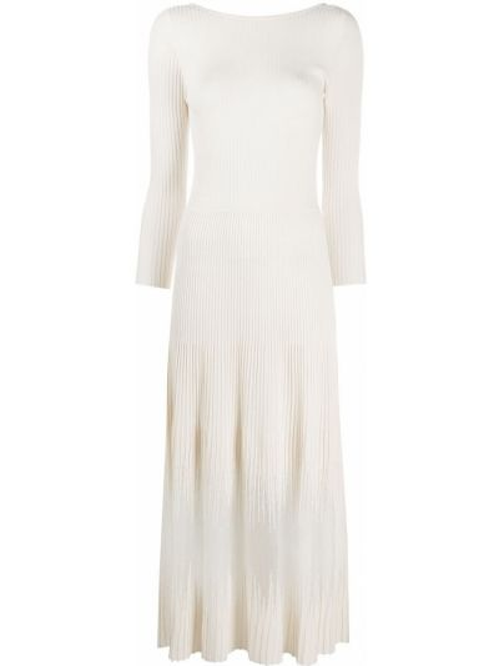 Белое открытое платье с открытой спиной в рубчик Patrizia Pepe