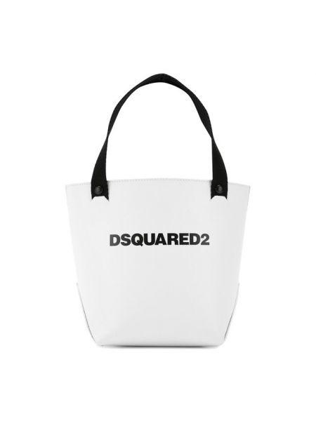 Кожаная сумка шоппер в клетку Dsquared2