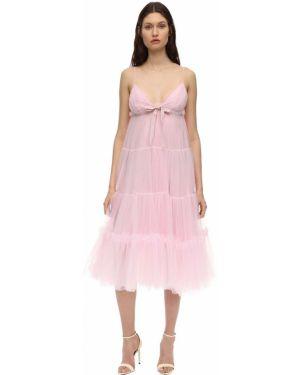 Розовое платье из фатина на бретелях с V-образным вырезом Brognano