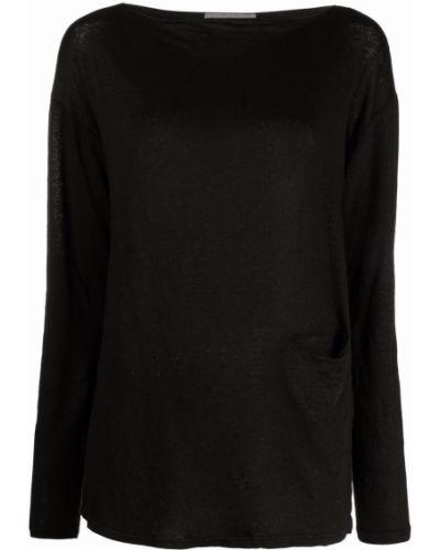 Черная футболка с вырезом Ma'ry'ya