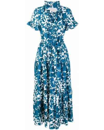 Платье мини с цветочным принтом с оборками La Doublej