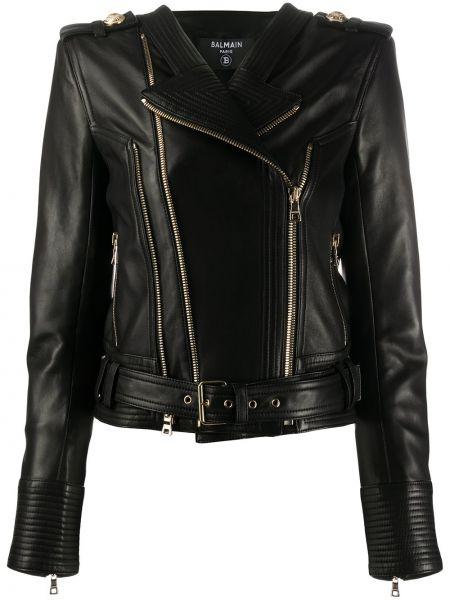 Черная кожаная куртка байкерская Balmain