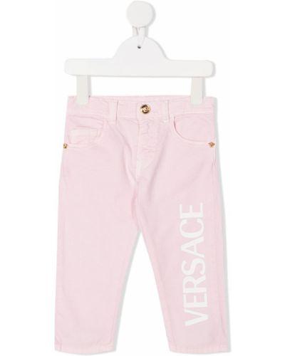 Różowe klasyczne spodnie klasyczne bawełniane Young Versace