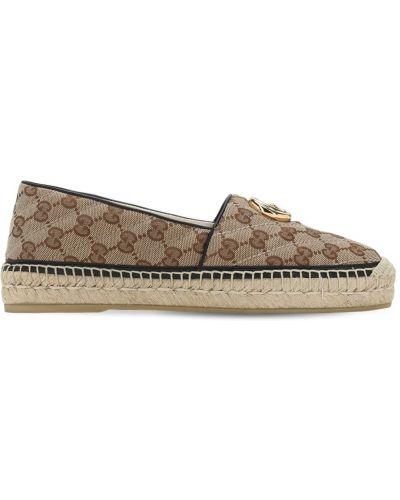 Коричневые кожаные эспадрильи с подкладкой Gucci