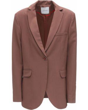 Шерстяной коричневый пиджак с карманами с лацканами Lesyanebo
