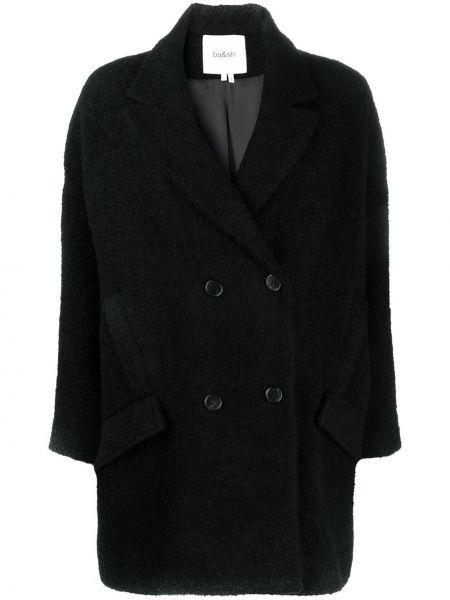Черное длинное пальто двубортное с карманами Ba&sh