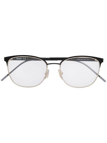 Złote oprawka do okularów - czarne Boss