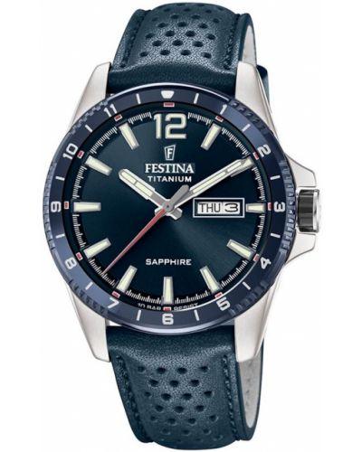 Zegarek sportowy srebrny granatowy Festina