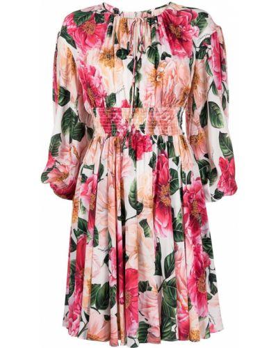 Шелковое розовое платье в цветочный принт Dolce & Gabbana