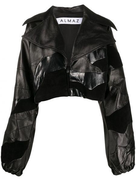 Черная кожаная короткая куртка на молнии Almaz