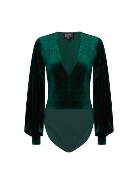 Body z dekoltem w serek - zielony Bardot