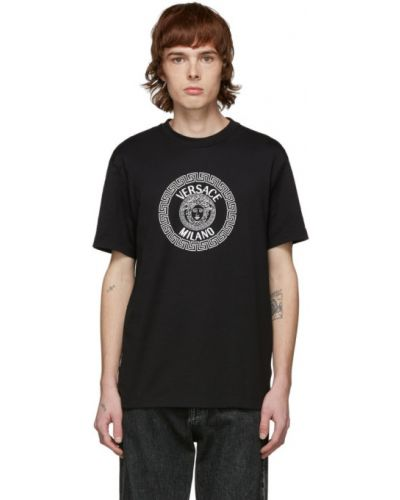 Koszula krótkie z krótkim rękawem z kołnierzem z haftem Versace
