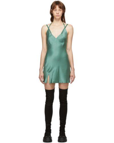 Сатиновое зеленое платье на бретелях с V-образным вырезом Haider Ackermann
