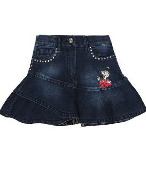 Ватная хлопковая синяя джинсовая юбка Monnalisa