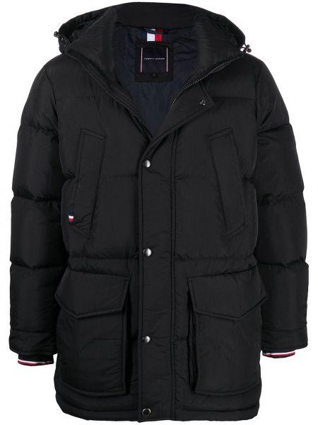 Z rękawami czarny klasyczny płaszcz z kapturem Tommy Hilfiger