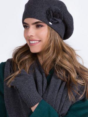 Szary beret wełniany Kamea