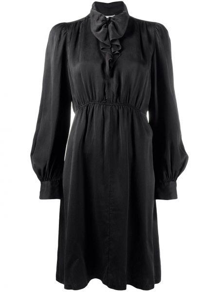 Шелковое с рукавами черное платье миди Forte Forte