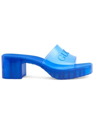 Niebieskie sandały na platformie na obcasie Gucci