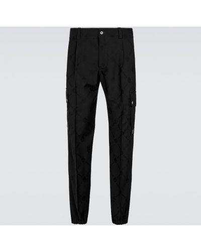 Czarne spodnie skorzane z haftem Berluti