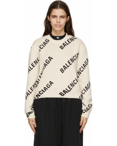 Sweter wełniany - biały Balenciaga