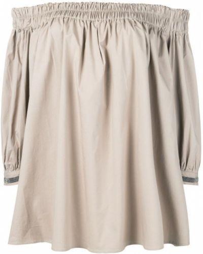 Блузка с открытыми плечами свободного кроя бежевый Fabiana Filippi