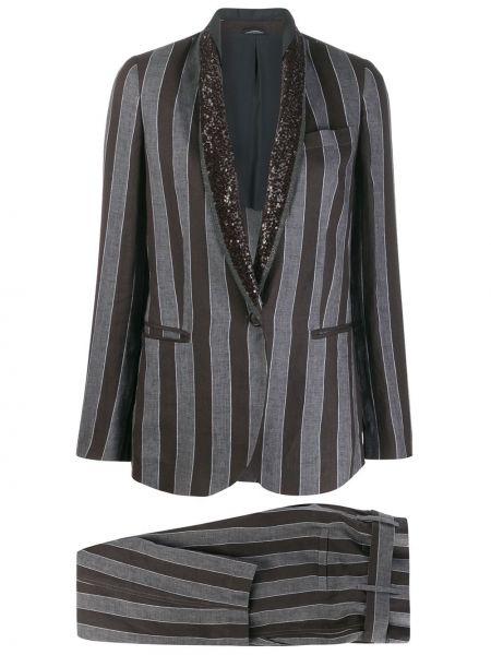 Шелковый черный приталенный брючный костюм Brunello Cucinelli