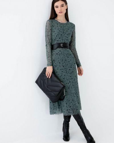Зеленое платье миди с длинными рукавами Zarina