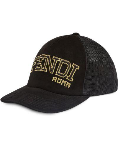 Czarna czapka z haftem skórzana Fendi